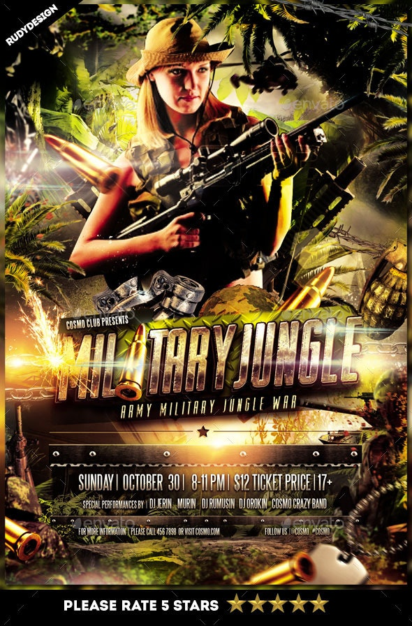 Army Military Jungle Theme Flyer Template - Clubs & Parties Events