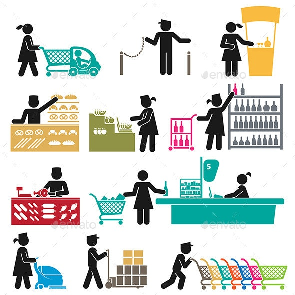 Employees in the Supermarket - People Characters