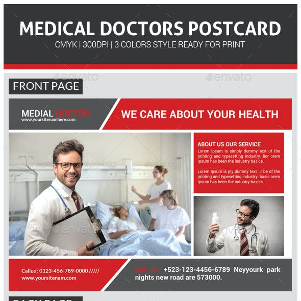 Medical Doctors Postcard Template