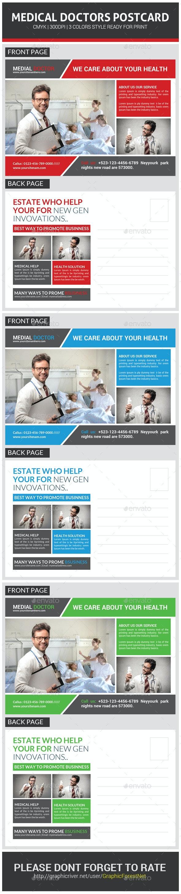 Medical Doctors Postcard Template - Cards & Invites Print Templates