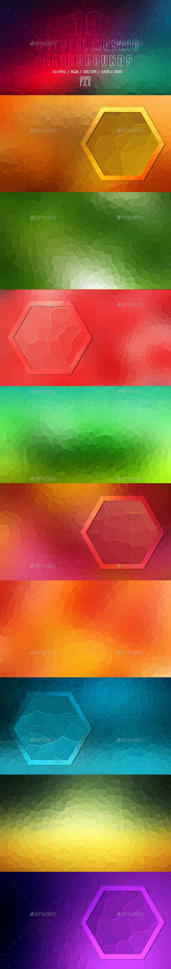 10 Crystal Mosaic Backgrounds - Backgrounds Graphics