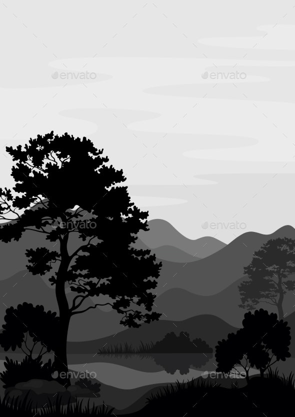 Mountain Landscape with Tree Silhouettes - Landscapes Nature