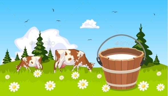 Cow on Meadow with Bucket of Milk in the Foreground - Landscapes Nature