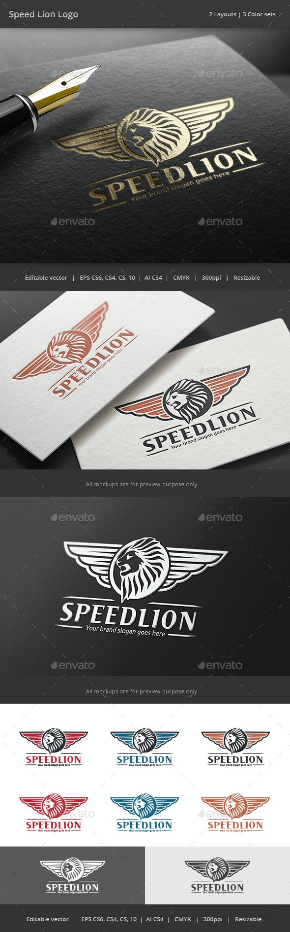 Lion Wing Speed Logo - Crests Logo Templates