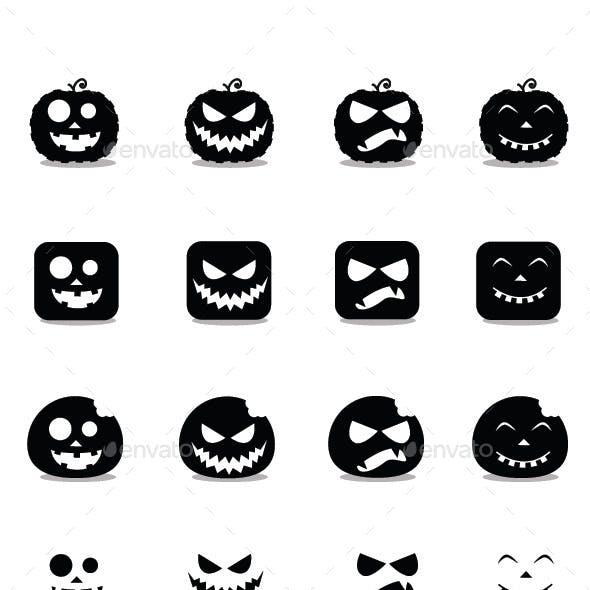 Halloween Pumpkin Icon Set