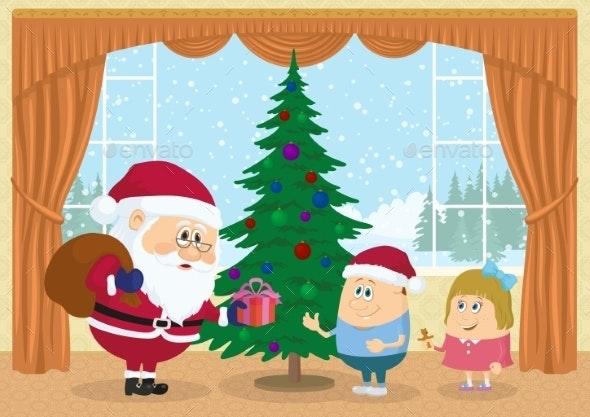 Santa Claus Giving Presents - Christmas Seasons/Holidays