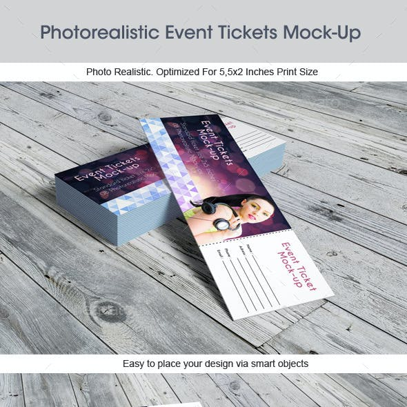 Photorealistic Event Tickets Mock-Up