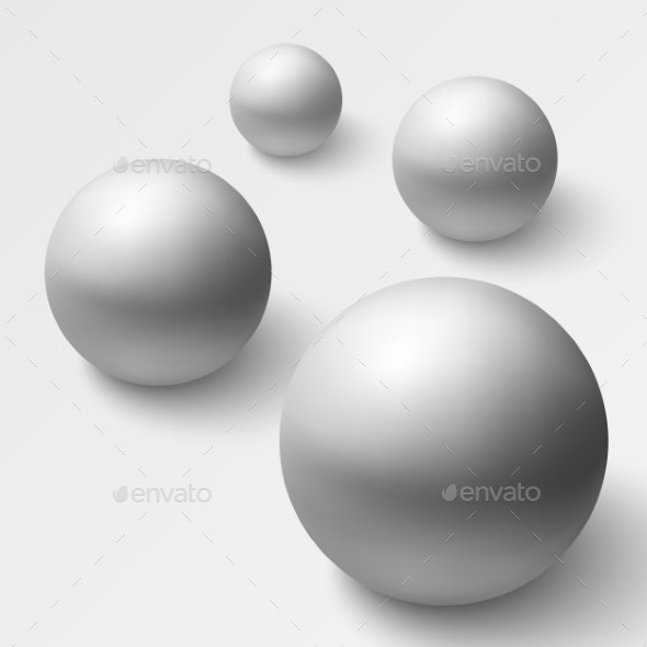 Abstract Background with Realistic Grey Spheres - Backgrounds Decorative