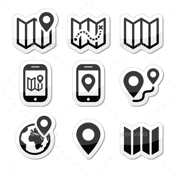 Map Travel Icons Set - Technology Conceptual