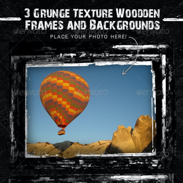 3 Grunge Texture Woodden Frames and Backgrounds