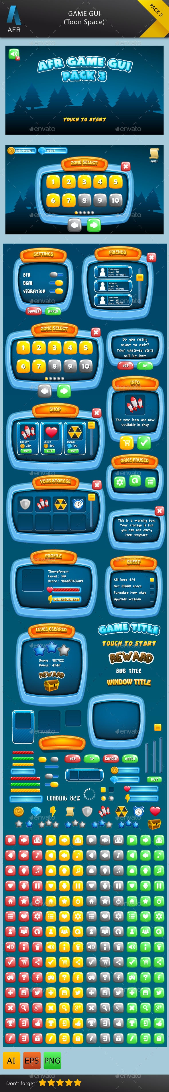 AFR Game GUI Pack 3 - User Interfaces Game Assets