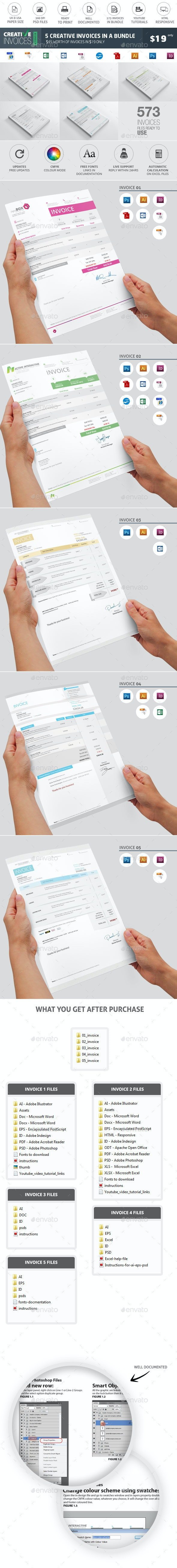 Invoices Bundle 5 in 1 - Proposals & Invoices Stationery