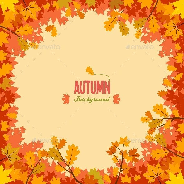 Autumn Leaves Circle Frame - Borders Decorative