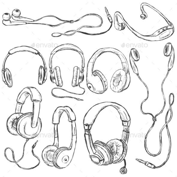 Vector Set of Sketch Headphones - Technology Conceptual