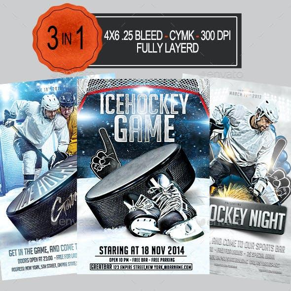 3 in 1 Ice Hockey Flyer Bundle