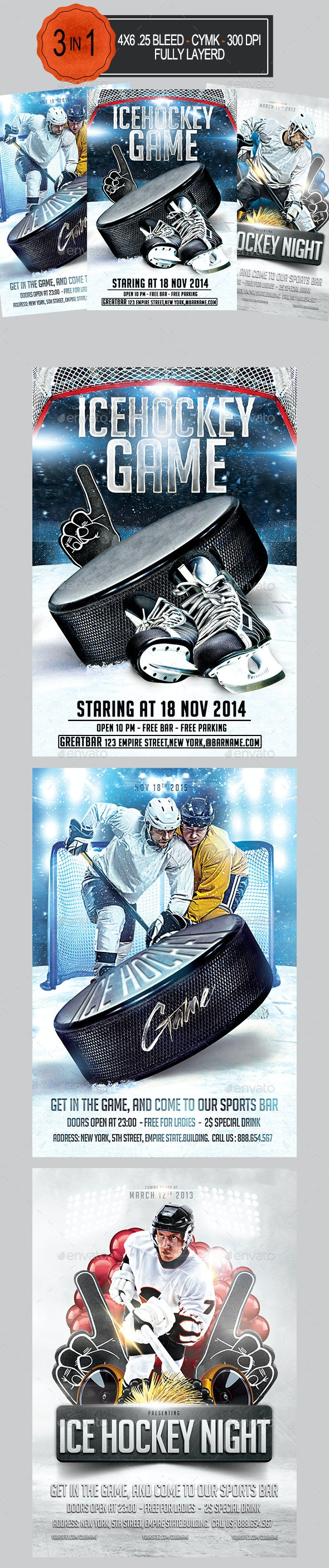3 in 1 Ice Hockey Flyer Bundle   - Sports Events
