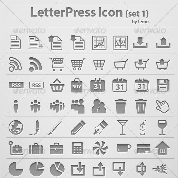 Letterpress Icon {Set 1}