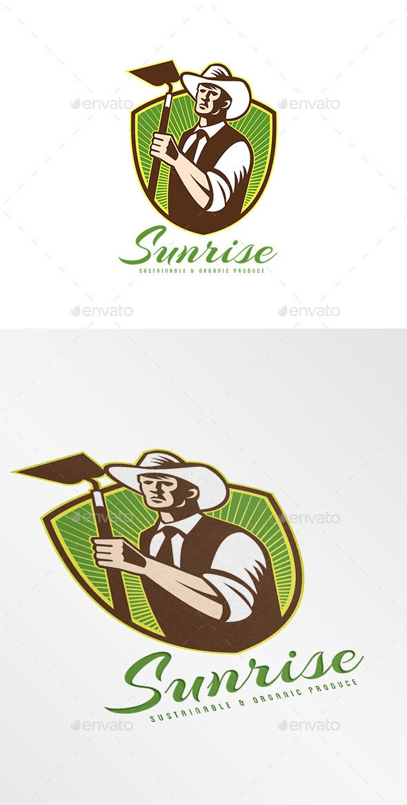 Sunrise Organic Farm Produce Logo - Humans Logo Templates