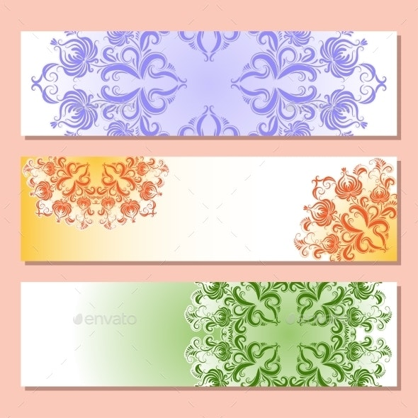 Set of Three Banner with Pattern - Patterns Decorative