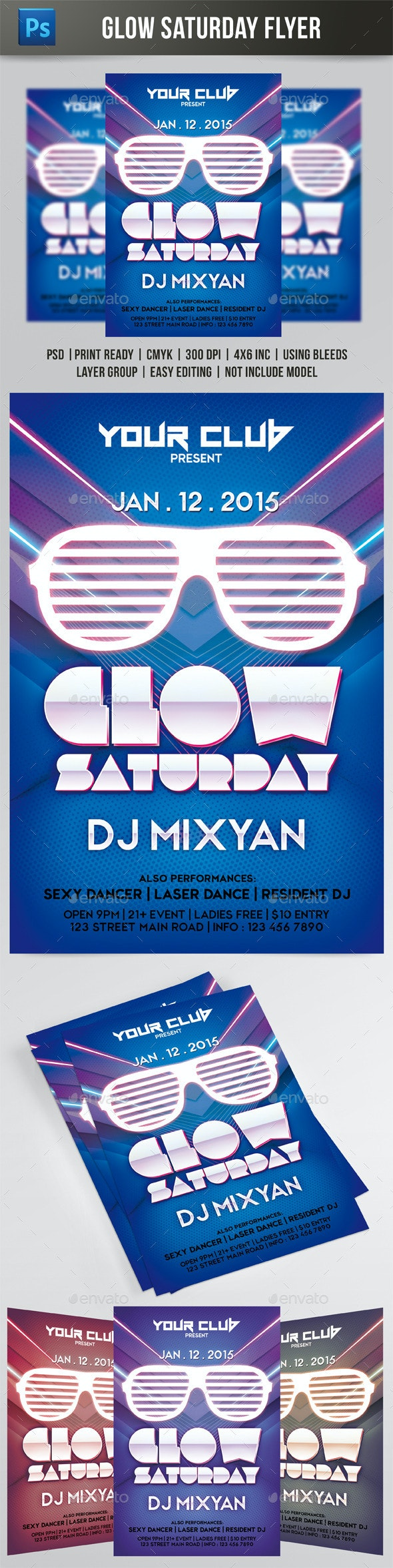 Glow Saturday Flyer  - Events Flyers