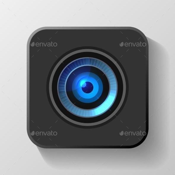 Blue Camera Lens Icon on Black. Vector - Technology Conceptual