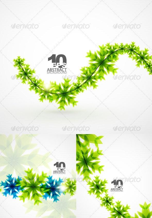 Green Christmas Snowflakes - Christmas Seasons/Holidays