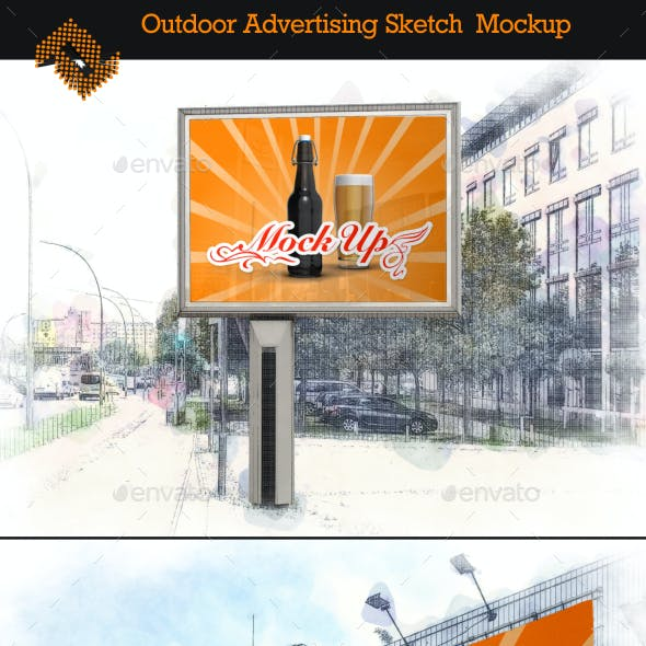 6 Outdoor Advertising Sketches Mockup