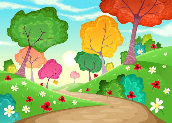 Landscape with Multi-Colored Trees - Landscapes Nature