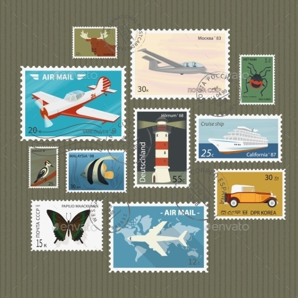 Postage Stamps Collection - Travel Conceptual