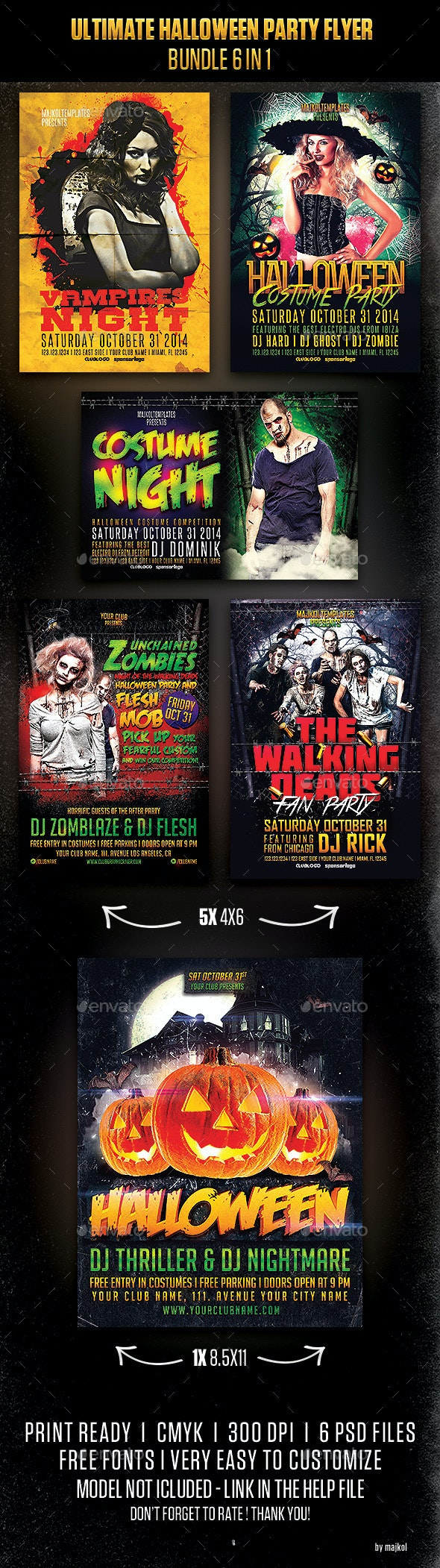 Ultimate Halloween Party Flyer Bundle 6 in 1 - Events Flyers