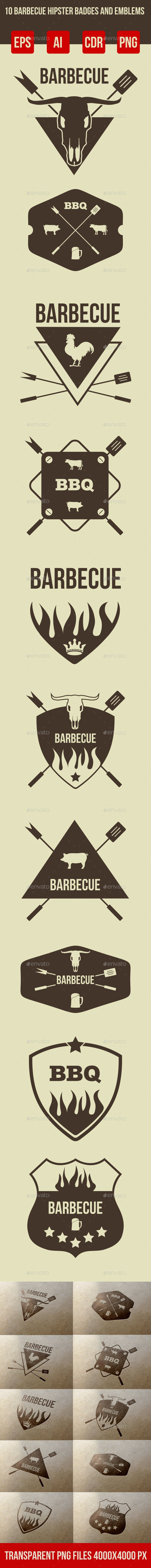 10 Barbeque Hipster Vector Emblems Vol.3  - Retro Technology
