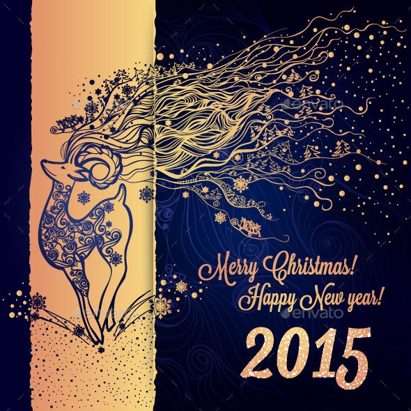 Greeting Card with Winter Holidays for your Design - New Year Seasons/Holidays