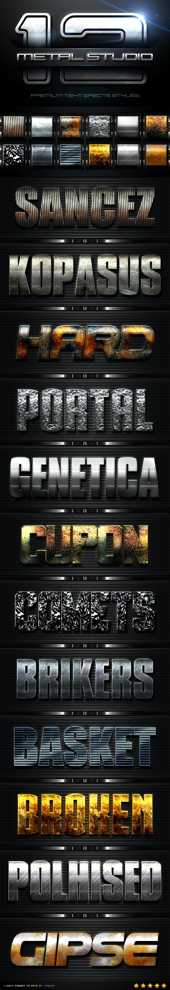 12 Metal Studio Styles - Text Effects Styles