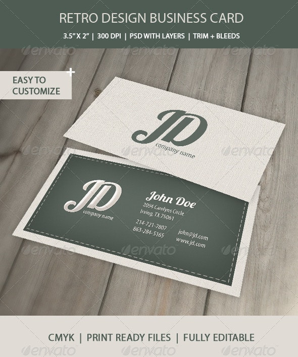Professional Retro Business Card - Retro/Vintage Business Cards