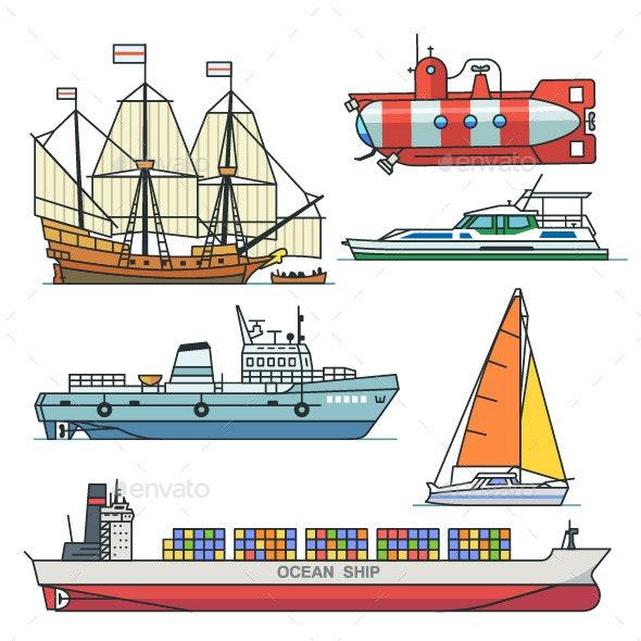 Different Sea Transport - Travel Conceptual