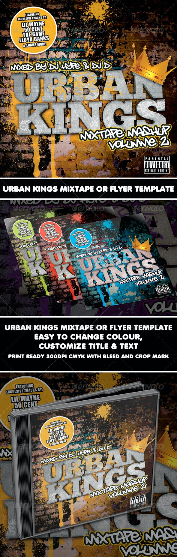 Urban Kings Mixtape or Flyer Template - CD & DVD Artwork Print Templates