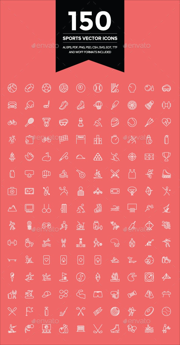 150 Sports Vector Icons - Icons