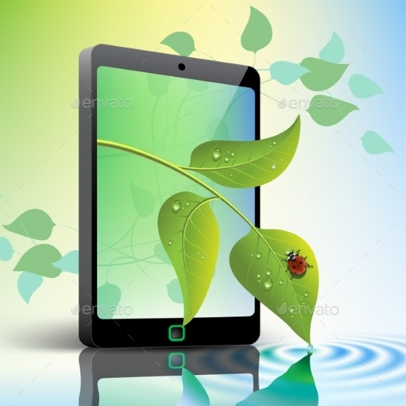 Mobile Phone with Leaves and Ladybug - Computers Technology