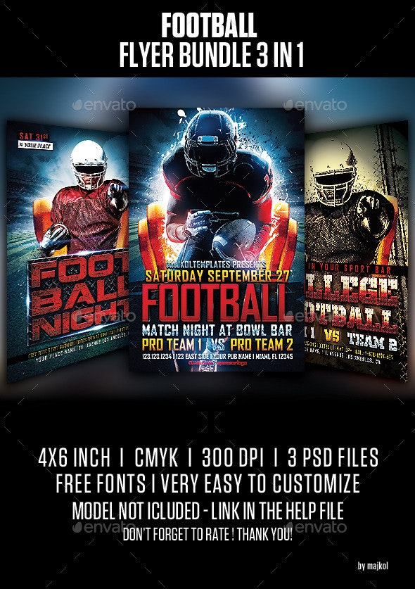 Football Flyer Bundle 3 in 1 - Sports Events