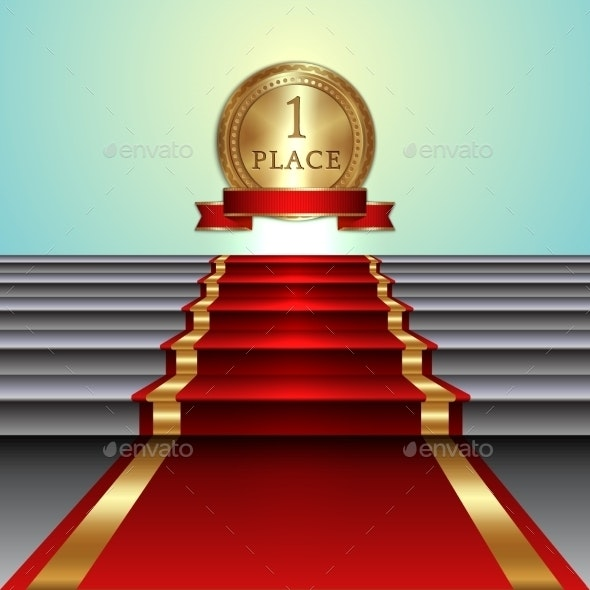 Abstract Illustration of Red Carpet - Business Conceptual