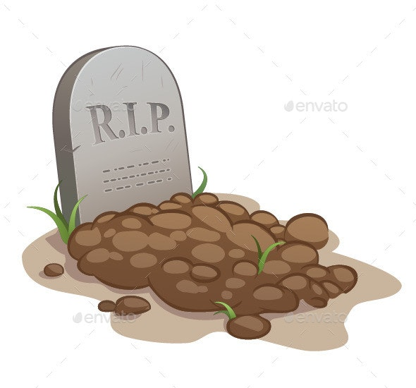 Cartoon Grave with Tombstone - Organic Objects Objects
