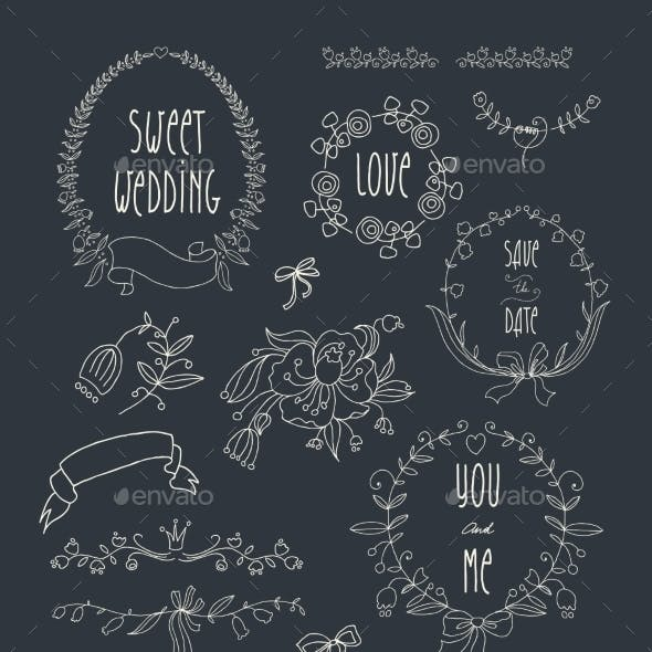 Hand Drawn Set of Wedding Wreaths and Ribbons