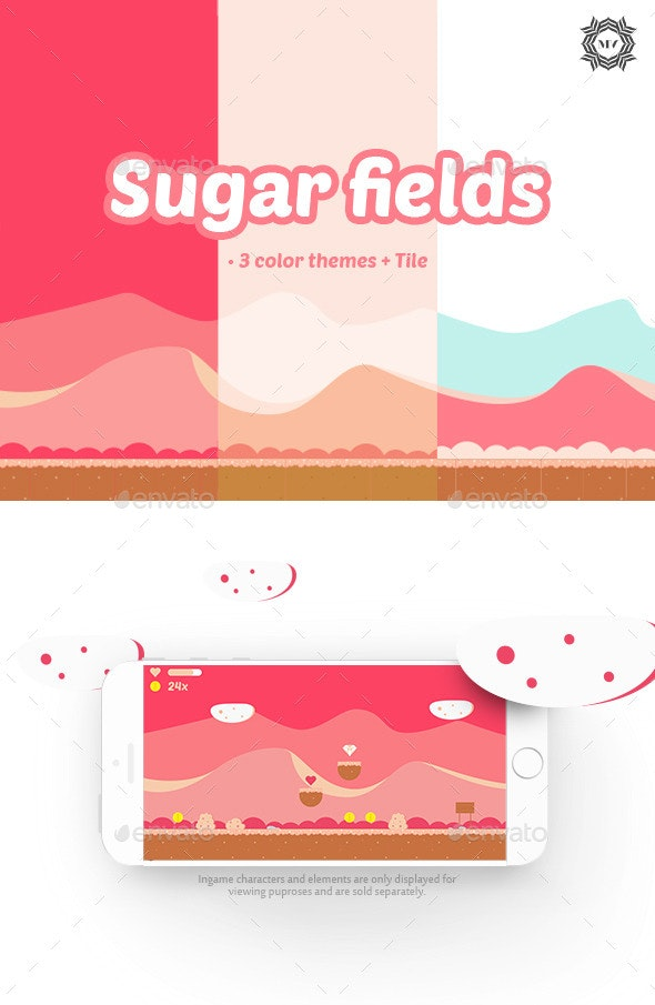 Sugar Fields - Backgrounds Game Assets
