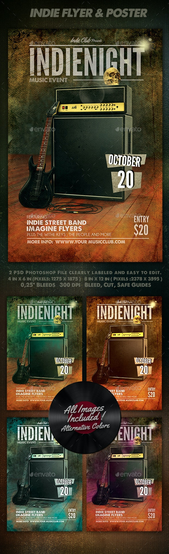 Indie Night Flyer & Poster Template   - Clubs & Parties Events