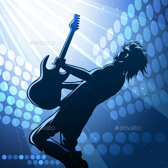 Rock Guitar Player on Stage