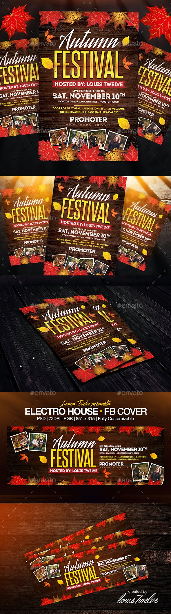 Autumn Festival Flyer + FB Cover - Clubs & Parties Events