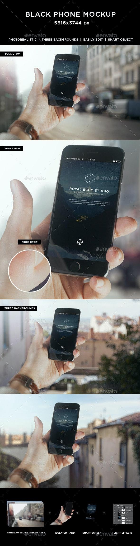 Hand Holding Black Phone 6 Mockup - Mobile Displays