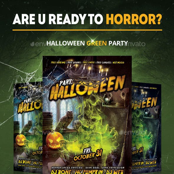 Halloween Green paty Flyer