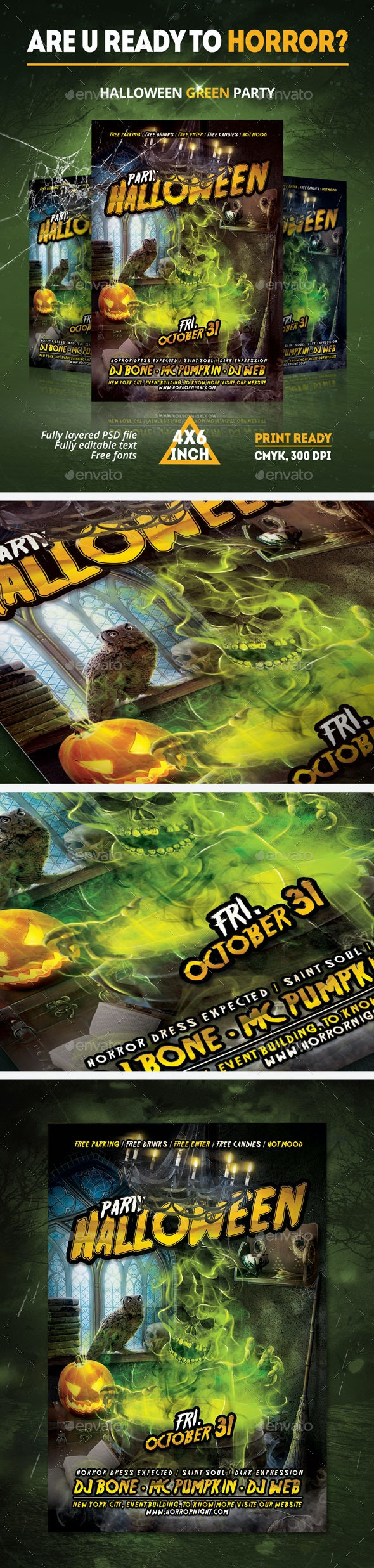 Halloween Green paty Flyer - Clubs & Parties Events