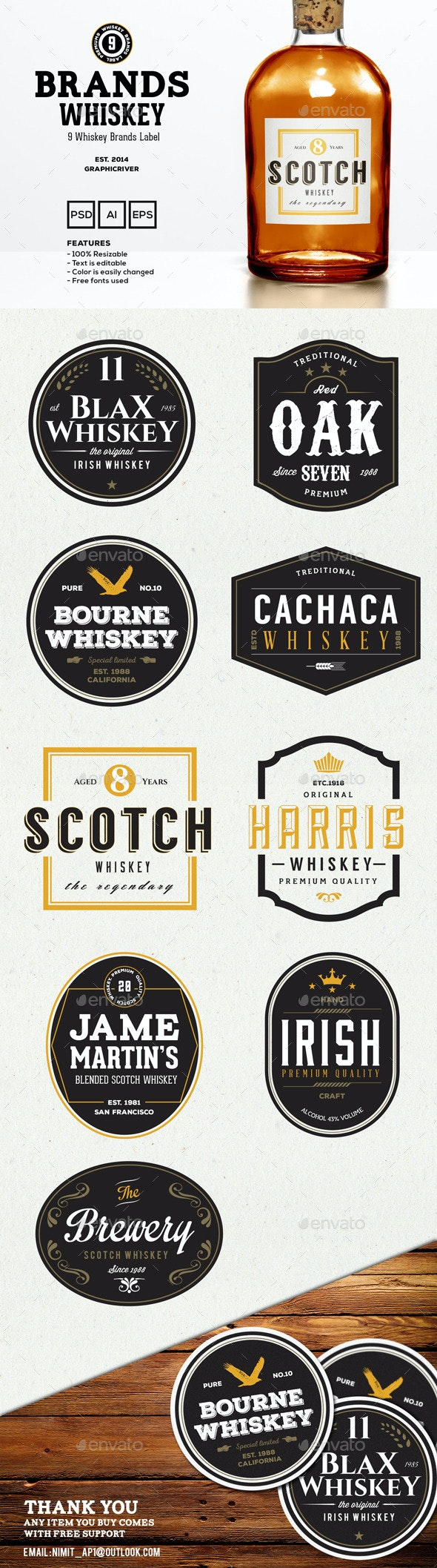 9 Whiskey Brands Label - Badges & Stickers Web Elements